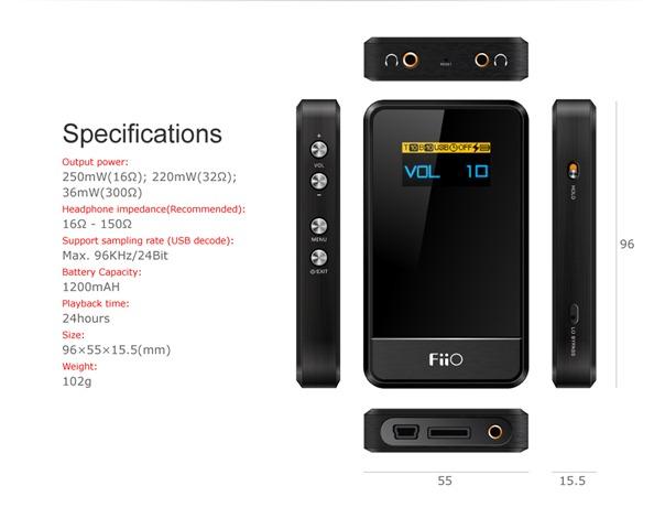 Fiio Portable Headphone Amplifier features