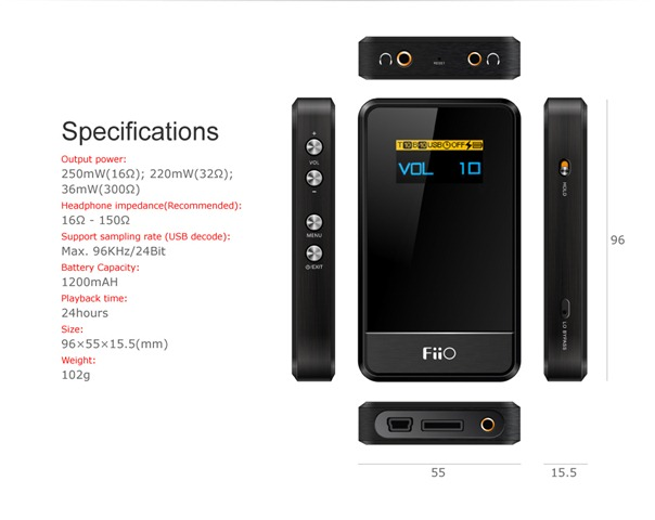 Fiio E17 portable headphone amplifier specifications